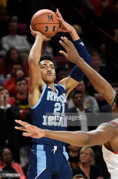 Jacob Toppin of the Rhode Island Rams shoots the ball against the Maryland Terrapins at Xfinity Center on November 9 2019 in College Park Maryland