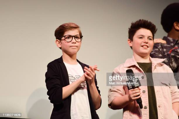 Jacob Tremblay and Brady Noon attend the Good Boys Premiere 2019 SXSW Conference and Festivals at Paramount Theatre on March 11 2019 in Austin Texas