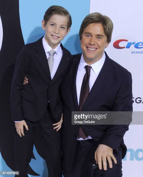 """Jacob Tremblay and director Stephen Chbosky arrive at the premiere of Lionsgate's """"Wonder"""" at Regency Village Theatre on November 14, 2017 in..."""