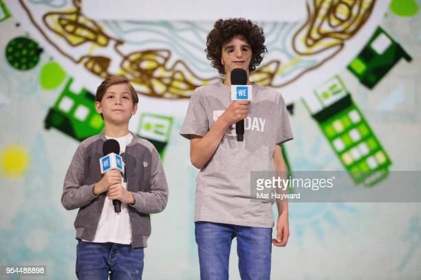 Jacob Tremblay and Nathaniel Newman speak on stage during WE Day at KeyArena on May 3 2018 in Seattle Washington
