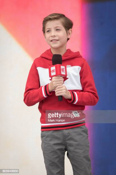 Jacob Tremblay delivers remarks at We Day Canada at Parliament Hill on July 2 2017 in Ottawa Canada