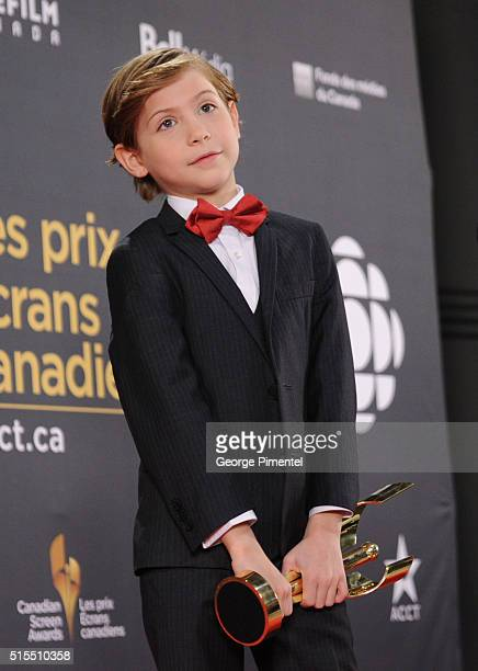 Jacob Tremblay poses in the press room at the 2016 Canadian Screen Awards at the Sony Centre for the Performing Arts on March 13 2016 in Toronto...