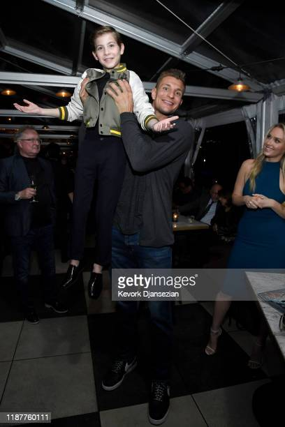 Jacob Tremblay Rob Gronkowski and Camille Kostek attend the Hollywood Foreign Press Association and The Hollywood Reporter Celebration of the 2020...