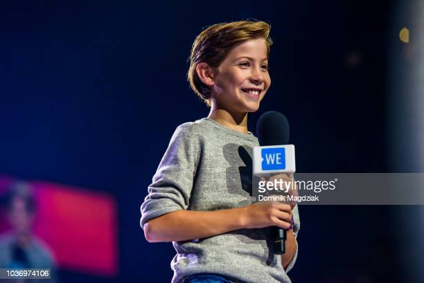 Jacob Tremblay speaks on stage during the 2018 WE Day Toronto Show at Scotiabank Arena on September 20 2018 in Toronto Canada