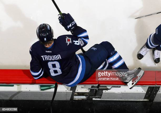 Jacob Trouba of the Winnipeg Jets changes on the fly during second period action against the Tampa Bay Lightning at the MTS Centre on February 11...