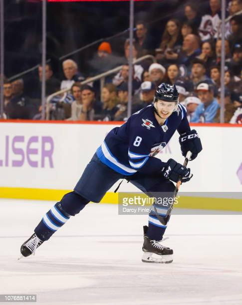 Jacob Trouba of the Winnipeg Jets follows the play down the ice during third period action against the Chicago Blackhawks at the Bell MTS Place on...