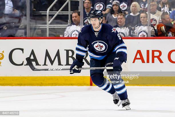 Jacob Trouba of the Winnipeg Jets follows the play down the ice during second period action against the Anaheim Ducks at the MTS Centre on January 23...