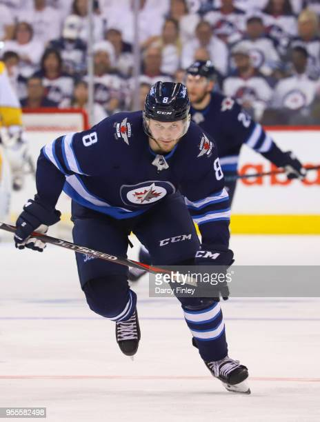 Jacob Trouba of the Winnipeg Jets follows the play down the ice during third period action against the Nashville Predators in Game Four of the...