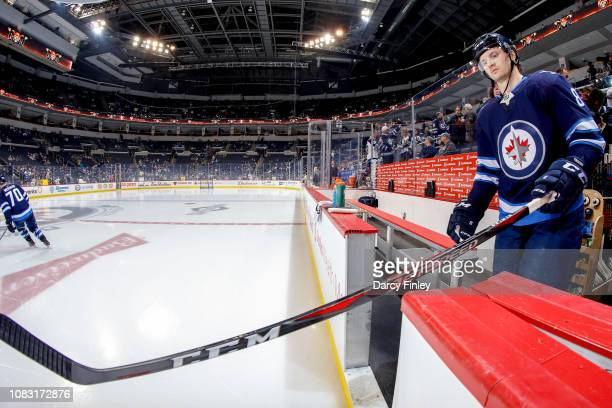 Jacob Trouba of the Winnipeg Jets hits the ice for the start of the pregame warm up prior to NHL action against the Vegas Golden Knights at the Bell...
