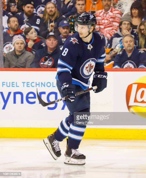 Jacob Trouba of the Winnipeg Jets keeps an eye on the play during third period action against the Philadelphia Flyers at the Bell MTS Place on...
