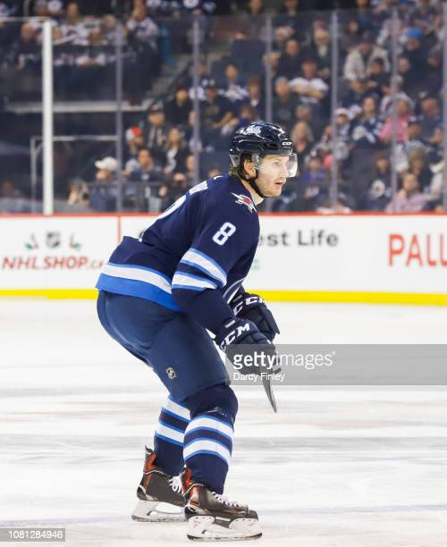 Jacob Trouba of the Winnipeg Jets keeps an eye on the play during first period action against the Philadelphia Flyers at the Bell MTS Place on...