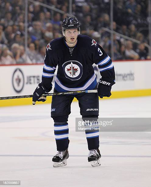 Jacob Trouba of the Winnipeg Jets prepares for action during second period in an NHL preseason game against the Boston Bruins at the MTS Centre on...