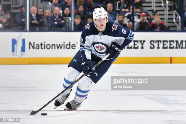 Jacob Trouba of the Winnipeg Jets skates against the Columbus Blue Jackets on October 27 2017 at Nationwide Arena in Columbus Ohio