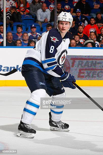 Jacob Trouba of the Winnipeg Jets skates against the New York Islanders at Nassau Veterans Memorial Coliseum on October 28, 2014 in Uniondale, New...