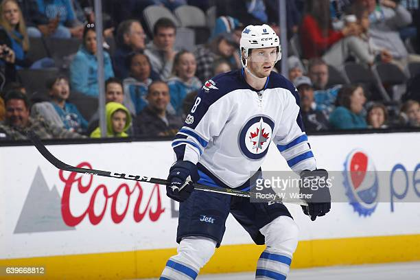 Jacob Trouba of the Winnipeg Jets skates against the San Jose Sharks at SAP Center on January 16 2017 in San Jose California