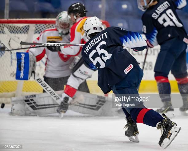 Jacob Truscott of the US Nationals scores a second period against the Switzerland Nationals goal during day2 of game two of the 2018 Under17 Four...