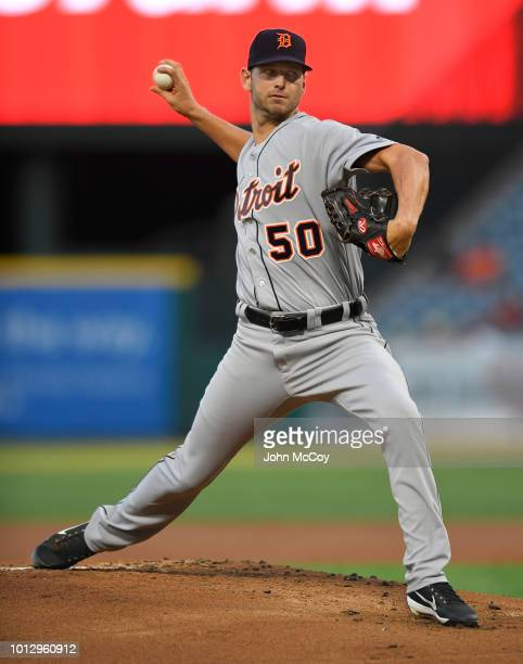 Jacob Turner of the Detroit Tigers pitches in the first inning against the Los Angeles Angels of Anaheim at Angel Stadium on August 7 2018 in Anaheim...