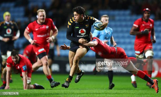 Jacob Umaga of Wasps breaks clear of the Saracens defence during the Gallagher Premiership Rugby match between Wasps and Saracens at on February 21...