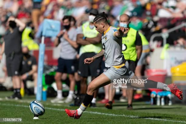 Jacob Umaga of Wasps kicks the ball during the Gallagher Premiership match between London Irish and Wasps at the Brentford Community Stadium,...