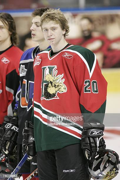 Jacob Voracek of Team BurnsBergeron during the introduction ceremony at the 2007 Home Hardware CHL/NHL Top Prospects Skills Competition at Colisee...