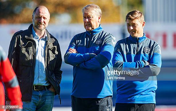 Jacob Wadland head of Media in Danish Fa Age Hareide head coach of Denmark and Jon Dahl Thomasson assistant coach looks on during the Denmark...