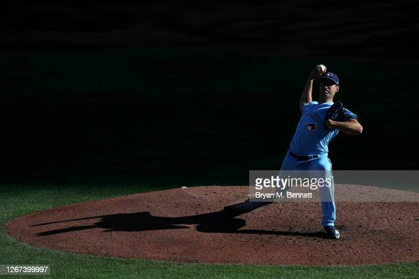 Jacob Waguespack of the Toronto Blue Jays pitches during the second inning of game two of a double header against the Philadelphia Phillies at Sahlen...