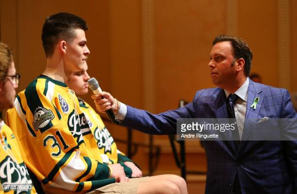 Jacob Wassermann of the Humboldt Broncos speaks during media availability moderated by sportscaster Elliotte Friedman at Wynn Las Vegas on June 19...