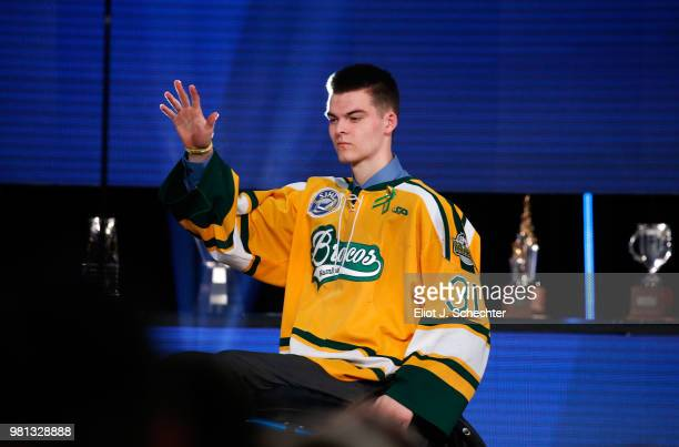 Jacob Wassermann of the Humboldt Broncos waves to the audience onstage during the 2018 NHL Awards presented by Hulu at The Joint inside the Hard Rock...