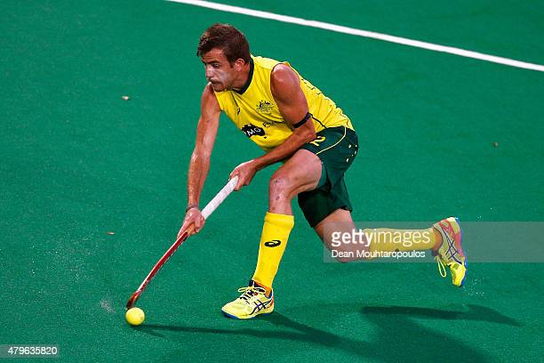 Jacob Whetton of Australia in action during the Fintro Hockey World League SemiFinal match between Australia and Great Britain held at KHC Dragons...