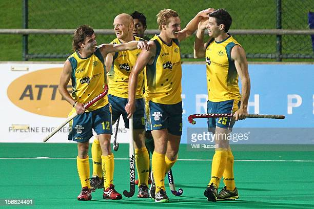 Jacob Whetton Rob Hammond Daniel Beale Trent Mitton of the Kookaburras celebrate after scoring a goal during the game against Pakistan during day one...