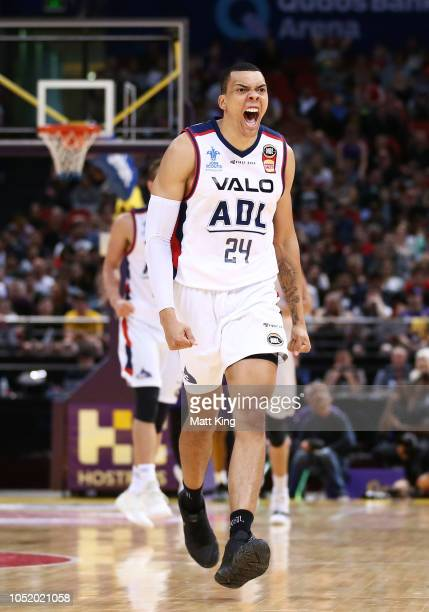 Jacob Wiley of the 36ers celebrates scoring during the round one NBL match between the Sydney Kings and the Adelaide 36ers at Qudos Bank Arena on...