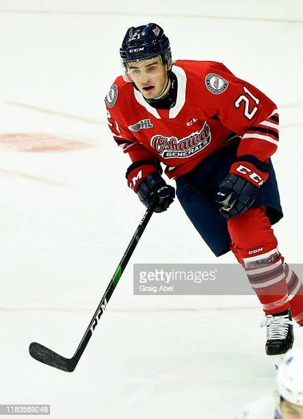 Jacob Winterton of the Oshawa Generals skates against the Mississauga Steelheads during game action on October 25, 2019 at Paramount Fine Foods...
