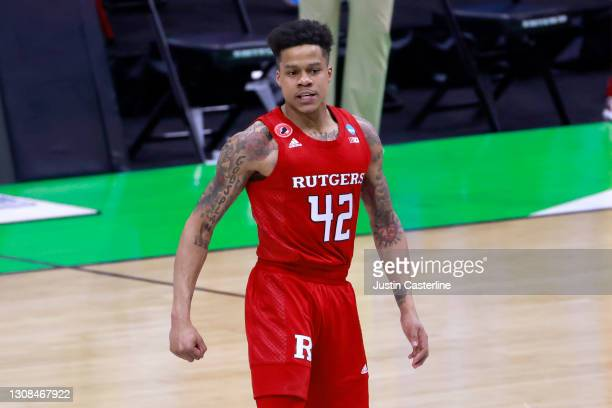 Jacob Young of the Rutgers Scarlet Knights on the court in the game against the Houston Cougars during the first half in the NCAA Basketball...