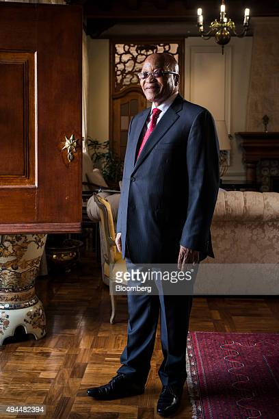 Jacob Zuma, South Africa's president, poses for a photograph following a Bloomberg Television interview at his state residence in Pretoria, South...