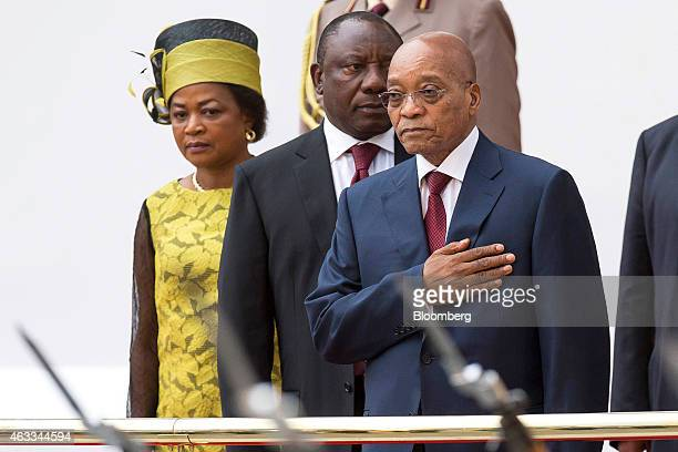 Jacob Zuma South Africa's president right Baleke Mbete the South African parliament's speaker of the house left and Cyril Ramaphosa South Africa's...