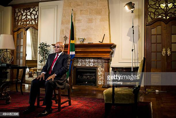 Jacob Zuma, South Africa's president, speaks during a Bloomberg Television interview at his state residence in Pretoria, South Africa, on Tuesday,...