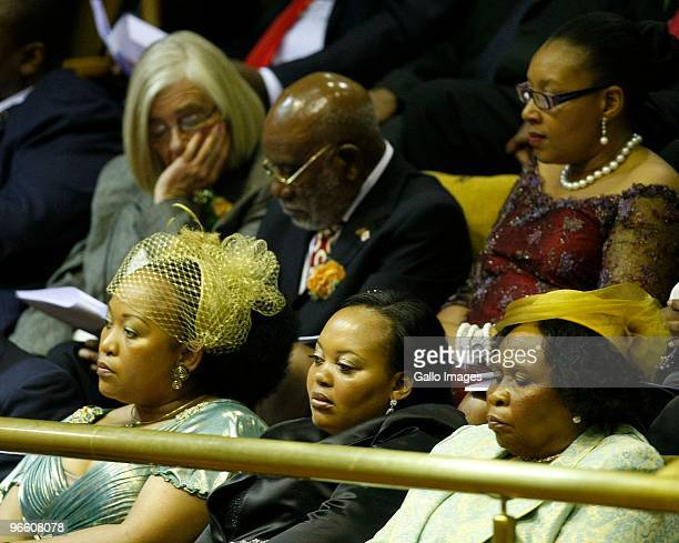 Jacob Zuma's three wives Thobeka Mabhija Nompumelelo Ntuli and Sizakele Khumalo in Parliament for President Jacob Zuma's State of the Nation Address...