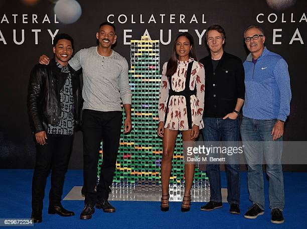 Jacobe Latimore Will Smith Naomie Harris Edward Norton and David Frankel attend a photocall for 'Collateral Beauty' at the Corinthia Hotel London on...
