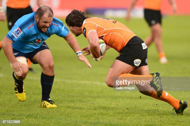Jacobie Adriaanse of the Bulls and Francois Venter of the Cheetahs during the Super Rugby match between Vodacom Bulls and Toyota Cheetahs at Loftus...