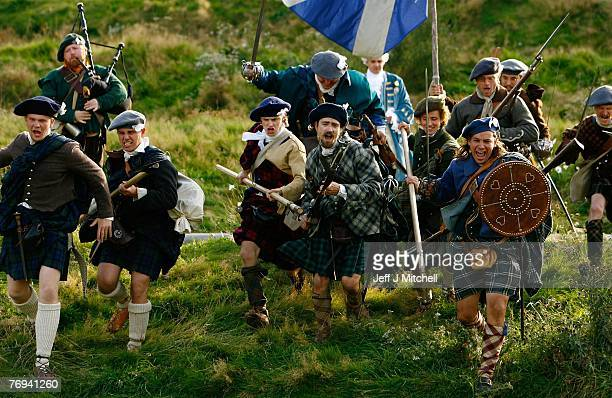 Jacobite enthusiasts in full highland costume take part in a commemoration on the anniversary of the 1745 Battle of Prestonpans September 21 2007 in...