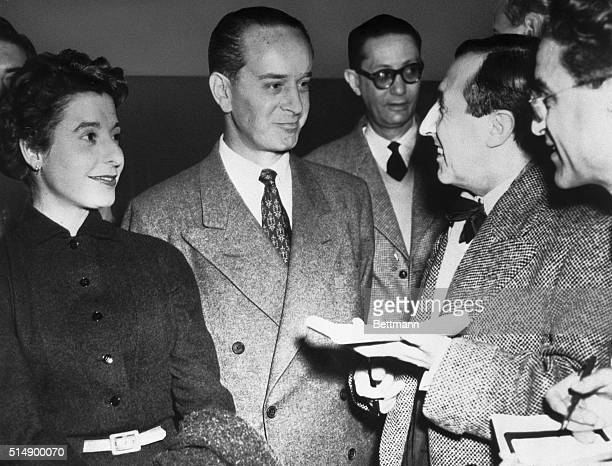 Jacobo Arbenz Guzman ousted as president of Guatemala in an antiCommunist revolt speaks with a group of French reporters in Paris In 1955 Arbenez...
