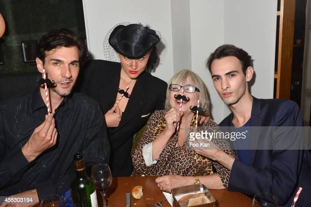 Jacobo Espina Susi Wyss Hea Deville and Fabio Revelant attend the 'Moustache Party' At the Tres Honore Club on September 11 2014 in Paris France