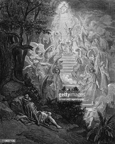 Jacob's dream of a stairway leading to heaven with God at the top Genesis 2812 From Gustave Dore for Bible 186566 Wood engraving