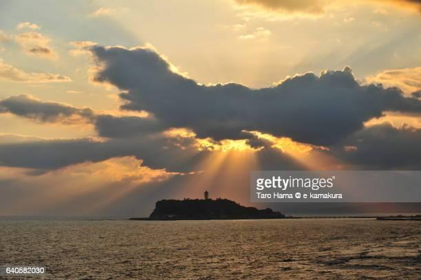Jacob's ladder on Enoshima island in the sunset