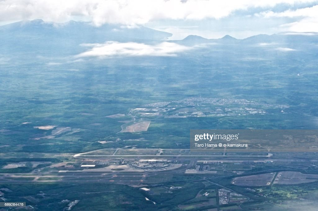 Jacob's ladder on New Chitose Airport daytime aerial view from airplane : Stock Photo