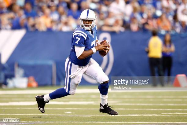 Jacoby Brisset of the Indianapolis Colts looks to pass the ball during the game against the Cleveland Browns at Lucas Oil Stadium on September 24...
