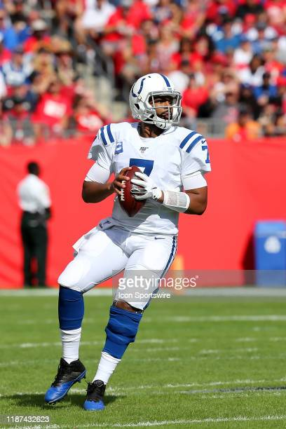 Jacoby Brissett of the Colts looks for an open receiver during the regular season game between the Indianapolis Colts and the Tampa Bay Buccaneers on...