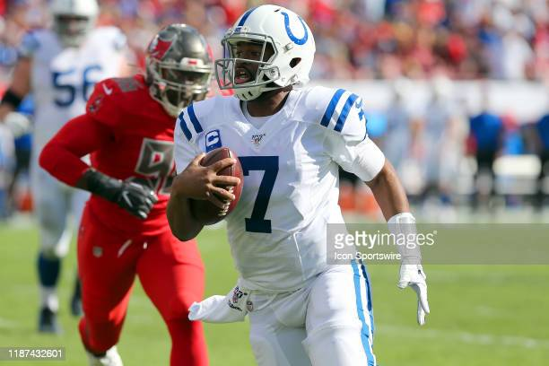 Jacoby Brissett of the Colts scrambles for yardage during the regular season game between the Indianapolis Colts and the Tampa Bay Buccaneers on...