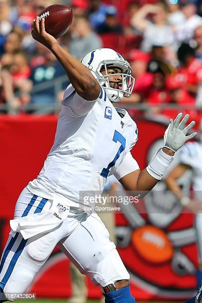 Jacoby Brissett of the Colts throws the ball upfield during the regular season game between the Indianapolis Colts and the Tampa Bay Buccaneers on...