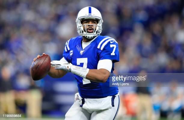 Jacoby Brissett of the Indianapolis Colts against the Carolina Panthers at Lucas Oil Stadium on December 22, 2019 in Indianapolis, Indiana.